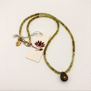 Satya Green Garnet Smokey Topaz Necklace